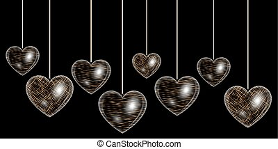 Heart of gold effect - Set of sparkling hearts with golden...