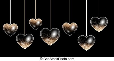 Golden heart - Set hearts with golden highlights on a black...