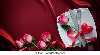 Valentines day background - Romantic table setting for...