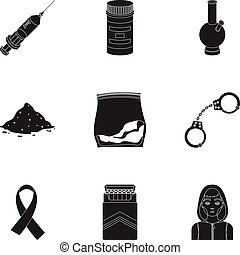 Drugs set icons in black style. Big collection of drugs...