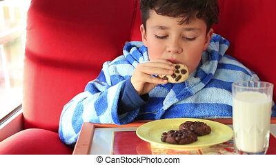 Child eating a chocolate chip cookie - Happy young boy...