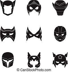 Superhero mask set icons in black style. Big collection of...