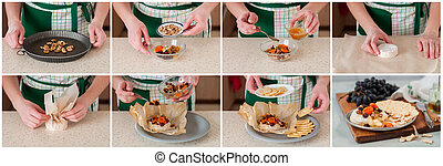 A Step by Step Collage of Making Baked Brie - A Step by Step...