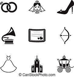 sarchiatura,  set, Icone, grande, Simbolo, collezione, vettore, nero, illustrazione, matrimonio, stile, casato