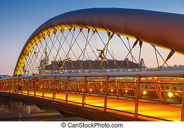 Bernatka footbridge over Vistula river in Krakow, Poland