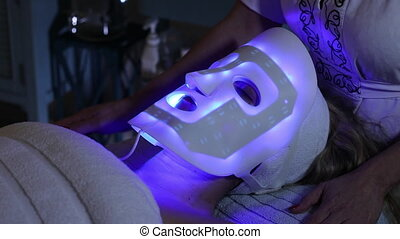 Blue LED Light Skin Rejuvenation Mask - Skin care process...