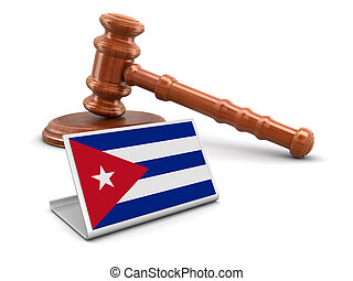 3d wooden mallet and Cuban flag. Image with clipping path