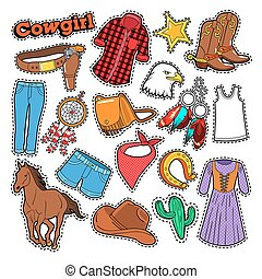 Cowgirl Doodle for Scrapbook, Stickers, Patches, Badges with...