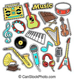 Musical Instruments Doodle for Scrapbook, Stickers, Patches, Badges with Guitar, Drum and Vinyl. Vector illustration