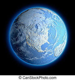 Winter Earth - Exaggerated metaphor for the winter Earth,...