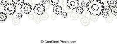 White settings banner with gears. - White settings banner...
