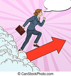 Pop Art Successful Business Woman Walking to the Top through the Clouds. Vector illustration