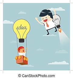 Business moves faster with a idea rocket. Businessman...