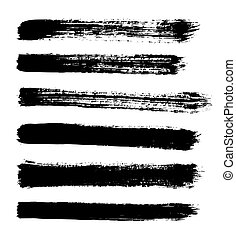 black vector strokes of paint on white background