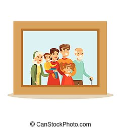 Happy Family Having Good Time Together Framed Photo Portrait Illustration