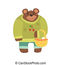 Brown Bear In Sweater With Wicker Basket, Forest Animal Dressed In Human Clothes Smiling Cartoon Character