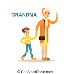 Grandma Walking With Grandson, Happy Family Having Good Time Together Illustration