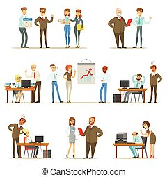 Big Boss Managing And Supervising The Work Of Office Employees Collection Of Top Manager And Workers Illustrations