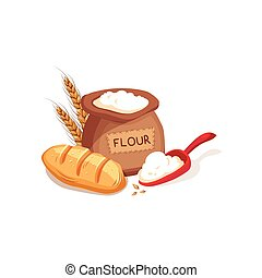 Cloth Sack Of Flour, Scooper And Fresh Bread Set, Farm And...