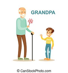 Grandpa Giving Candy To Grandson, Happy Family Having Good...