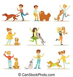 Children And Dogs Illustrations Set With Kids Playing And...