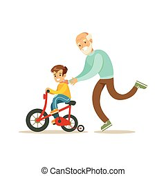 Grandfather Running Behind Grandson Bicycle, Happy Family...