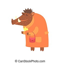 Wild Boar Dressed As Old Lady With Coat And Purse, Forest Animal Dressed In Human Clothes Smiling Cartoon Character