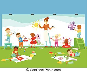 Young Children In Art Class Drawing And Painting With...