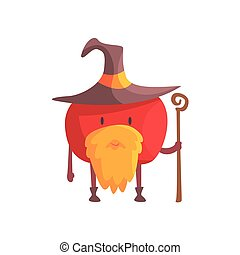 Tomato In Magician Costume With Staff And Beard, Part Of Vegetables In Fantasy Disguises Series Of Cartoon Silly Characters