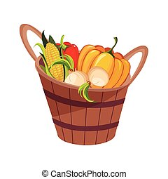 Fresh Vegetables Harvest Set In Wooden Bucket, Farm And...