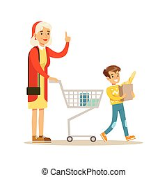 Grandmother And Grandson Shopping, Happy Family Having Good Time Together Illustration