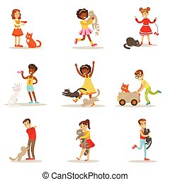 Children And Cats Illustrations Set With Kids Playing And...
