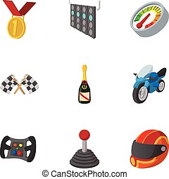 Championship formula 1 icons set, cartoon style