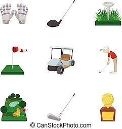 Sport golf icons set, cartoon style