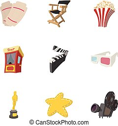 Motion picture icons set, cartoon style - Motion picture...