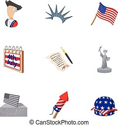 Independence day of USA icons set, cartoon style -...