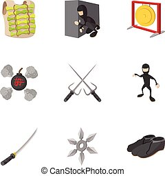 Warrior icons set, cartoon style - Warrior icons set....