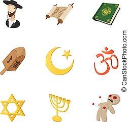 Religious faith icons set, cartoon style - Religious faith...