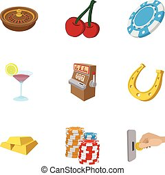 Gambling icons set, cartoon style - Gambling icons set....