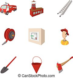 Fiery profession icons set, cartoon style