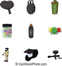 Shooting paintball icons set, cartoon style