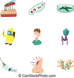 Symptoms of malaria icons set, cartoon style