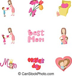 Happy mothers day icons set, cartoon style
