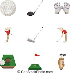 Training golf icons set, cartoon style