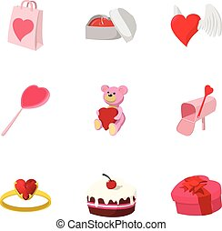 Valentines day february 14 icons set. Cartoon illustration...