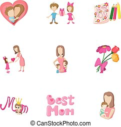 Love of mother icons set, cartoon style