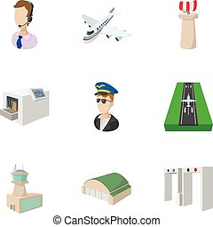 Airport icons set, cartoon style - Airport icons set....