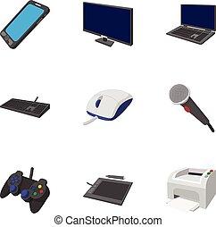 Electronic equipment icons set, cartoon style - Electronic...