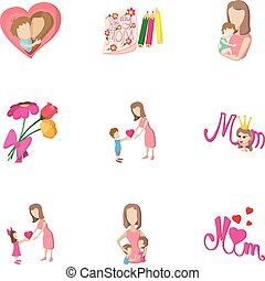 Mothers day holiday icons set, cartoon style