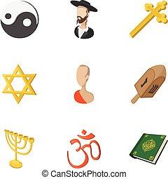 Religion icons set, cartoon style - Religion icons set....